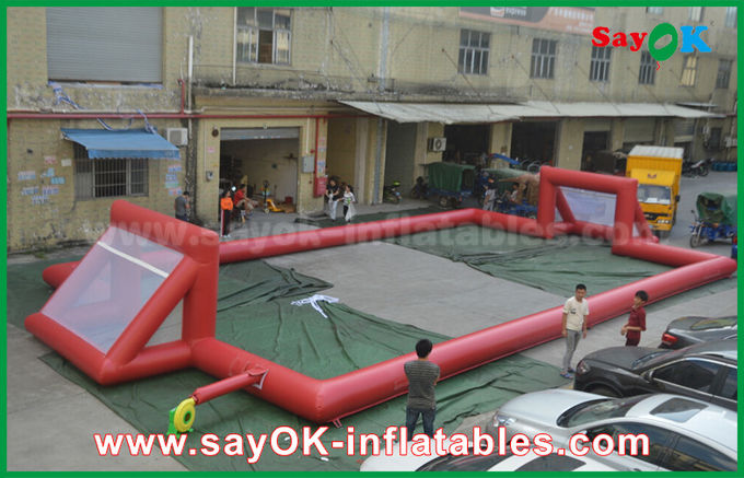 Giant 0.5mm PVC Tarpaulin Inflatable Football Field , Portable Inflatable Soccer Field