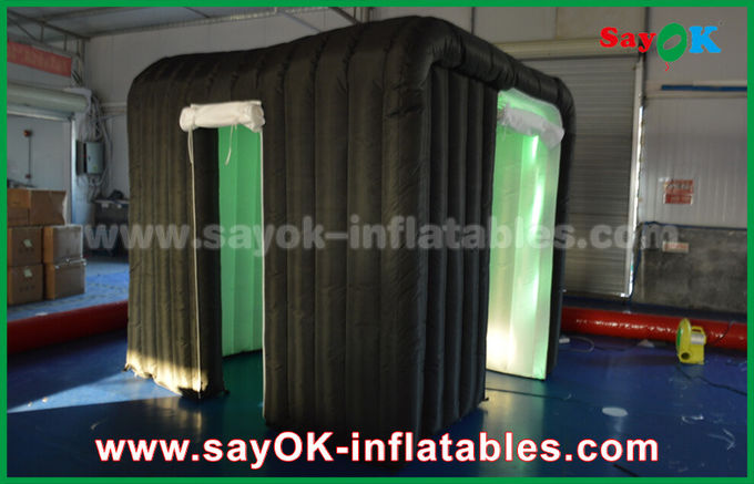 Black Two Doors Customize Inflatable Event Photo Booth With Rgb Led Lighting