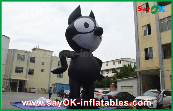 6mH Oxford Cloth Black Inflatable Cartoon Characters , Inflatable Cat