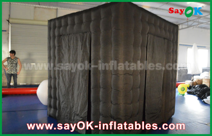 2 Doors Inflatable Photo Booth With LED Light Oxford Cloth 2.5m  Black