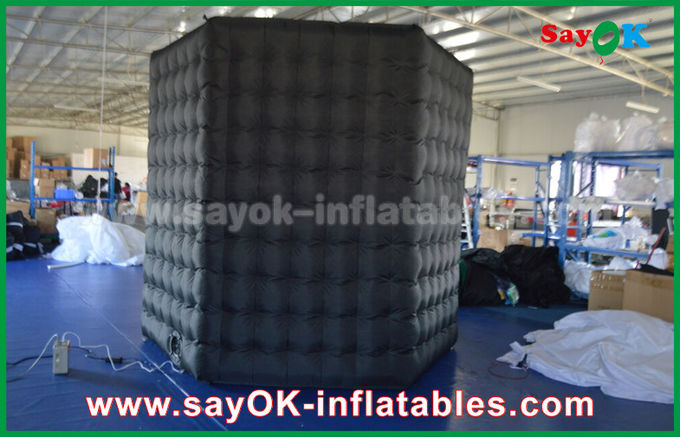 1 Door Diamond Oxford Cloth Inflatable Led Cube Photo Booth For Trade Show