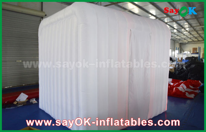White Inflatable Event Photo Booth with RGB Led Light / Two Doors