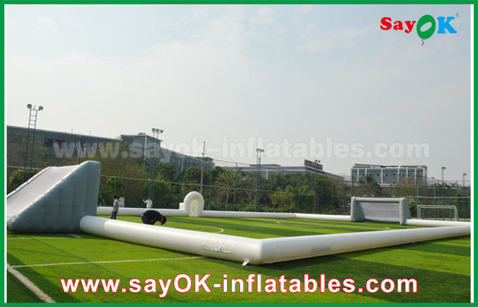 Giant 10m Inflatable Football Field , Portable Inflatable Soccer Field With PVC Material