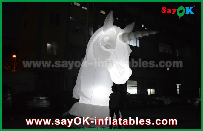 Full White Oxfiord Cloth Inflatable Horse Unicorn With LED Light
