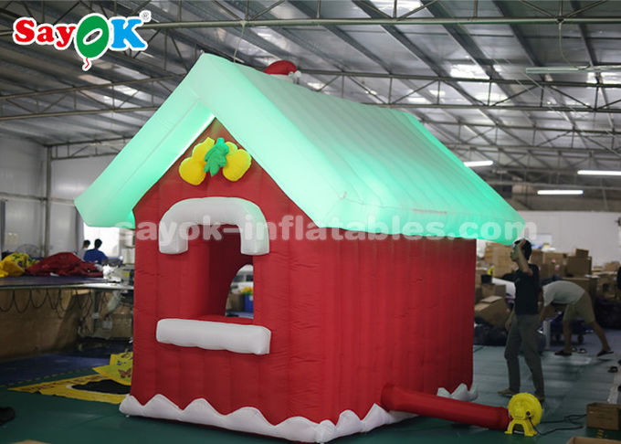 SGS ROHS Inflatable Christmas Santa Claus House Red + White Color