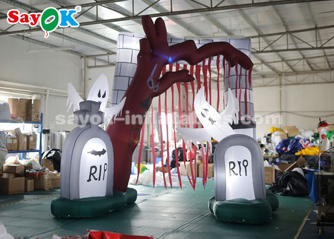 Durable 5*4m Inflatable Holiday Decorations Halloween Entrance Archway With LED Lights