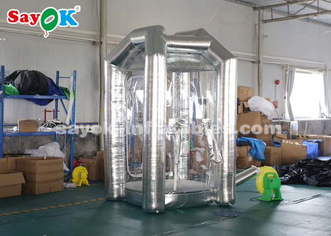 Silver Cube Inflatable Money Cash Booth Machine For Company Opening