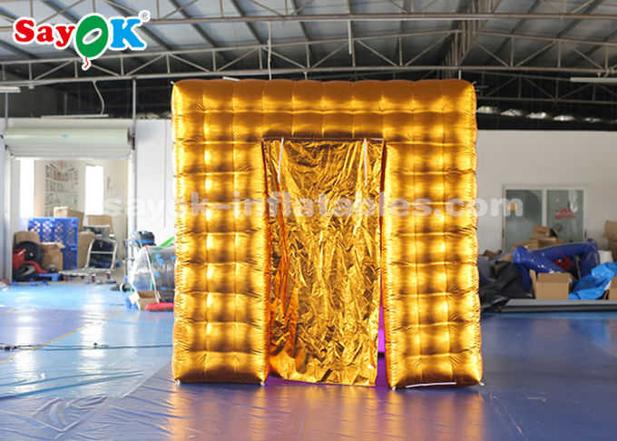 2.5M Golden Inflatable LED Air  Photo Booth With  Colored Lights SGS  ROHS