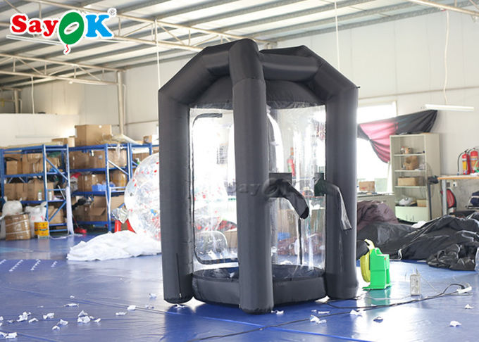 Black Cube Inflatable Money Grab Booth Machine For Event CE  SGS ROHS