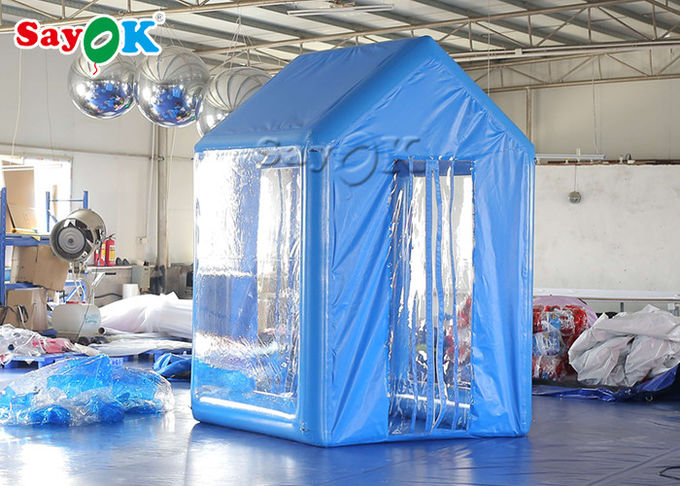 2x2x3M Blue PVC  Inflatable Medical Tent Human Atomization Disinfection Door Channel 1
