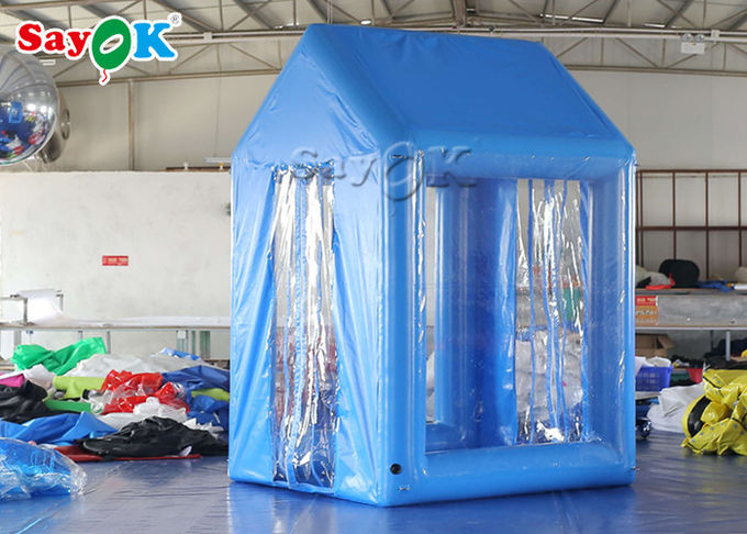 2x2x3M Blue PVC  Inflatable Medical Tent Human Atomization Disinfection Door Channel 2