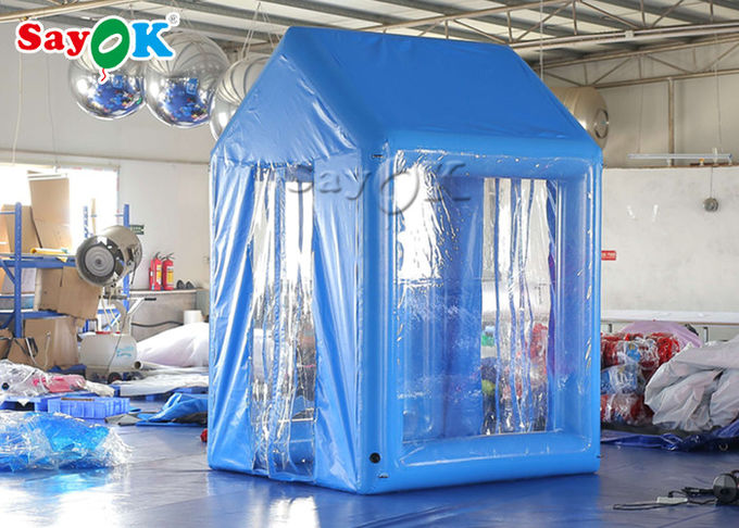 2x2x3M Blue PVC  Inflatable Medical Tent Human Atomization Disinfection Door Channel 0