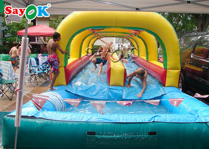Custom Size Inflatable Water Slide Double Lane Slip And Slide With Pool